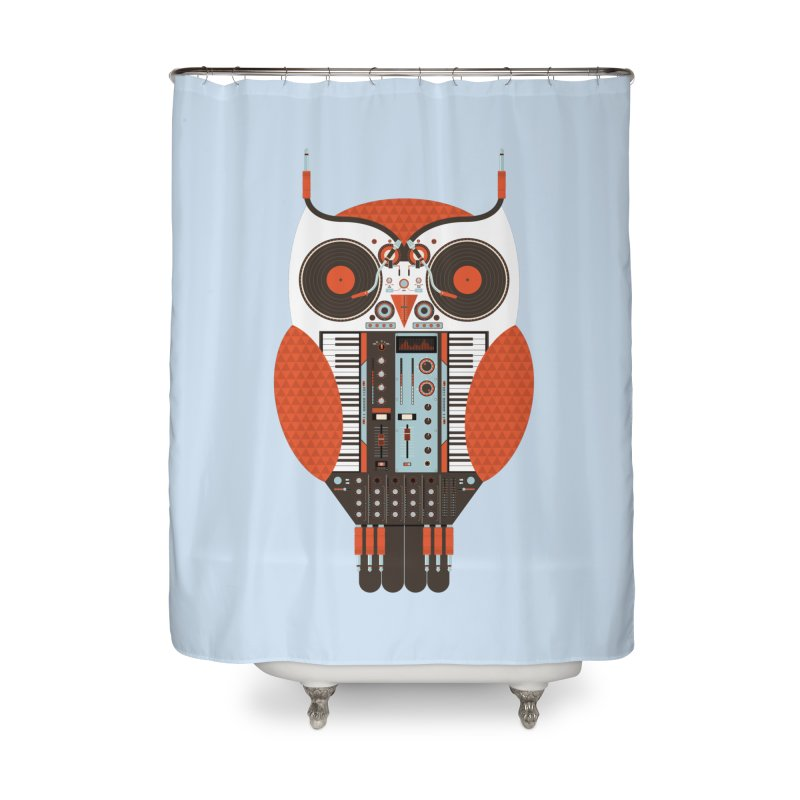 DJ Owl Home Shower Curtain by Tony Bamber's Shop