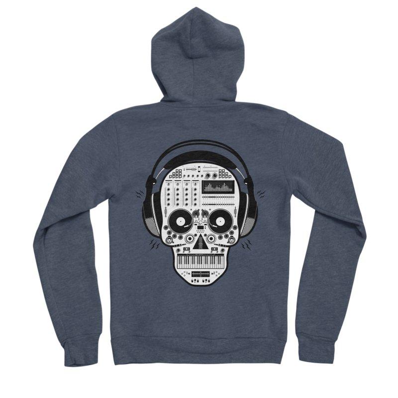 DJ Skull Men's Sponge Fleece Zip-Up Hoody by Tony Bamber's Shop