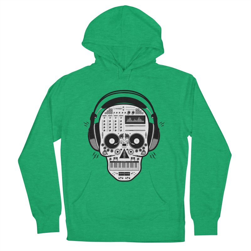 DJ Skull Men's French Terry Pullover Hoody by Tony Bamber's Shop