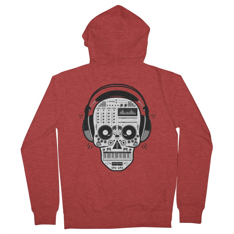 DJ Skull Men's French Terry Zip-Up Hoody by Tony Bamber's Shop