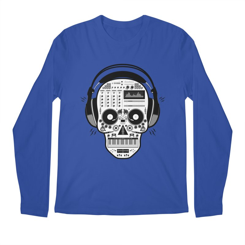 DJ Skull Men's Regular Longsleeve T-Shirt by Tony Bamber's Shop