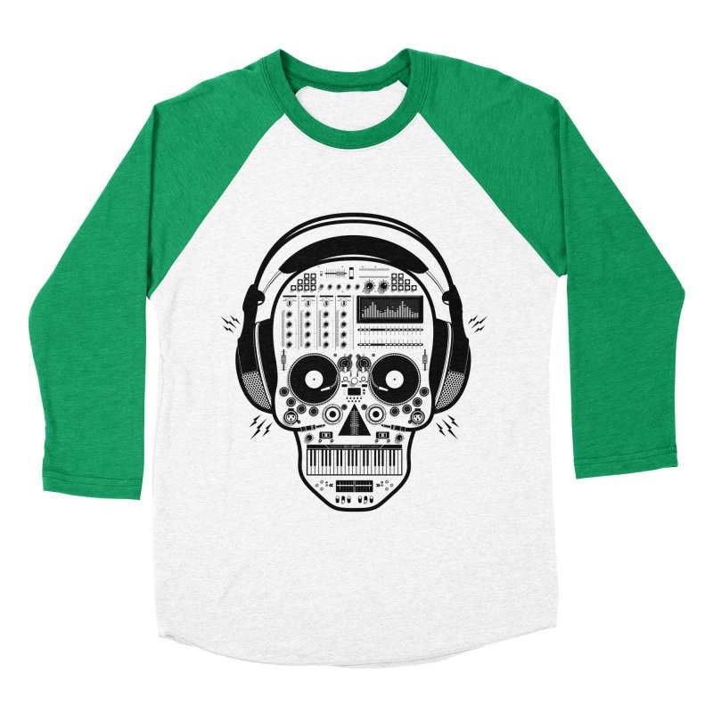 DJ Skull Women's Baseball Triblend Longsleeve T-Shirt by Tony Bamber's Shop