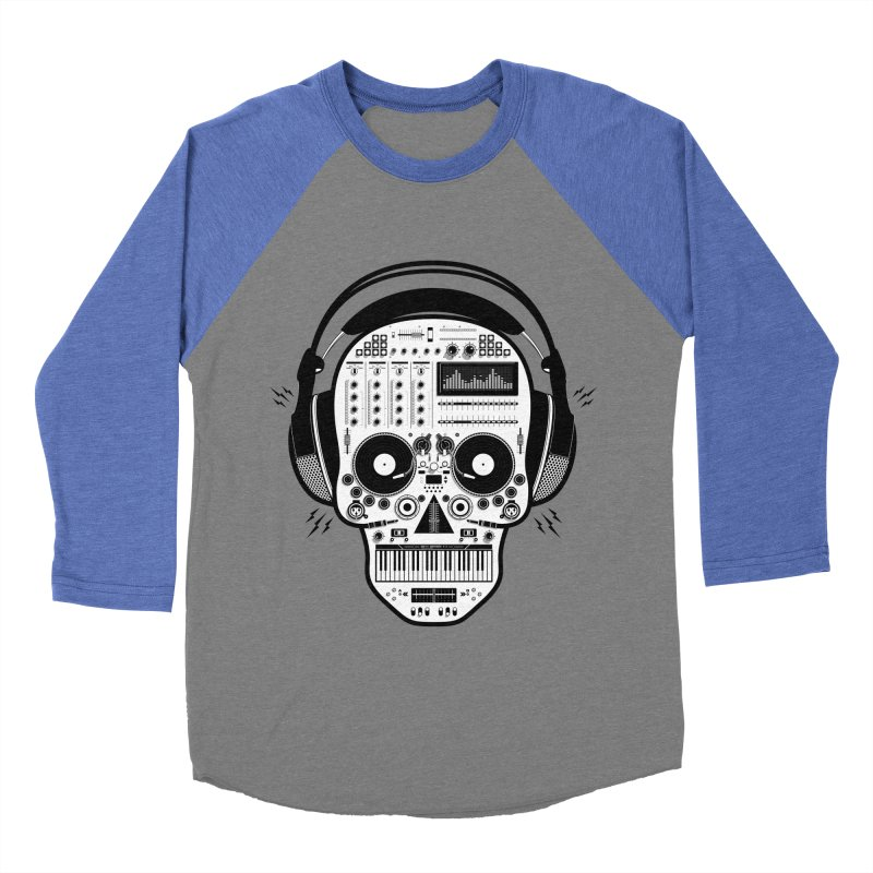 DJ Skull Men's Baseball Triblend Longsleeve T-Shirt by Tony Bamber's Shop