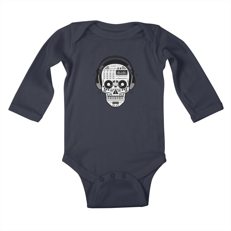 DJ Skull Kids Baby Longsleeve Bodysuit by Tony Bamber's Shop