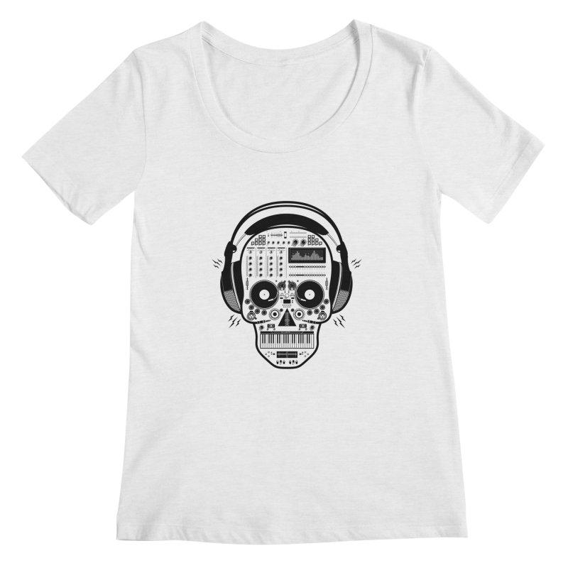 DJ Skull Women's Regular Scoop Neck by Tony Bamber's Shop