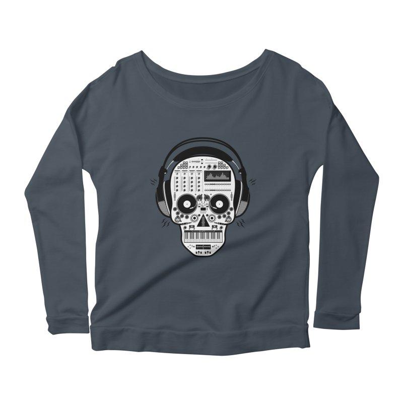 DJ Skull Women's Scoop Neck Longsleeve T-Shirt by Tony Bamber's Shop