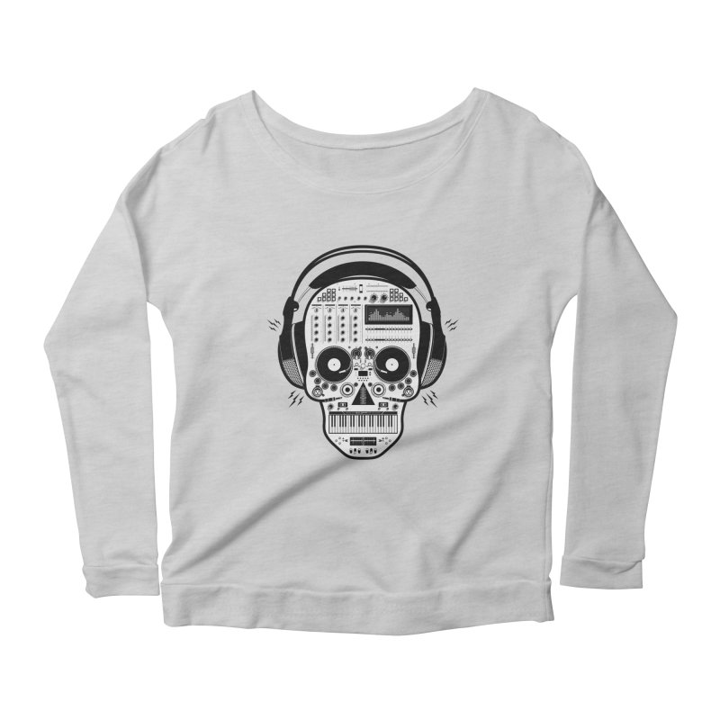 DJ Skull Women's Scoop Neck Longsleeve T-Shirt by Tony Bamber's Shop