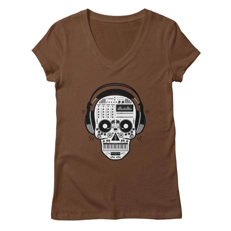 DJ Skull Women's Regular V-Neck by Tony Bamber's Shop