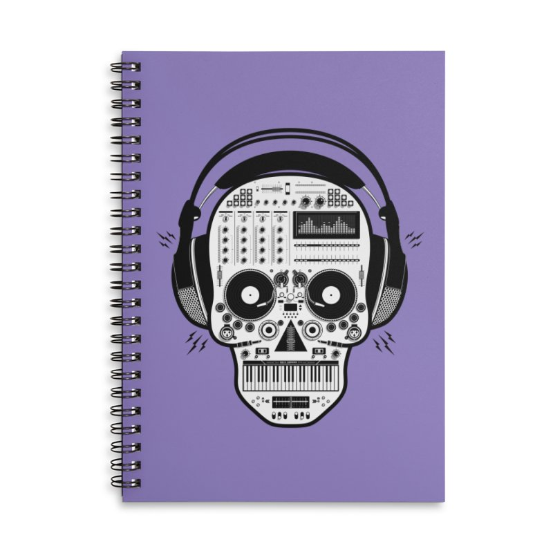 DJ Skull Accessories Lined Spiral Notebook by Tony Bamber's Shop