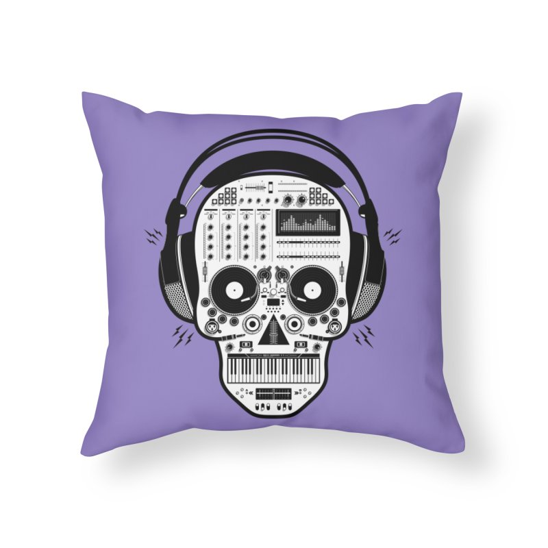 DJ Skull Home Throw Pillow by Tony Bamber's Shop