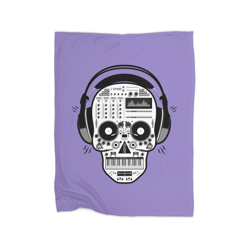 DJ Skull Home Fleece Blanket Blanket by Tony Bamber's Shop