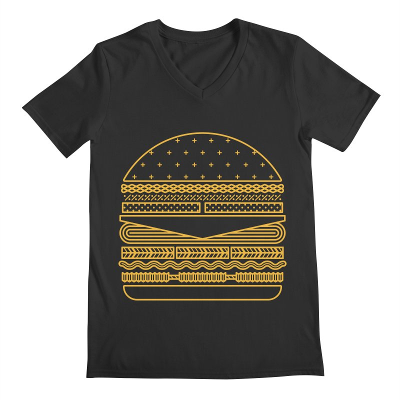 Burger Time - Yellow Men's Regular V-Neck by Tony Bamber's Artist Shop