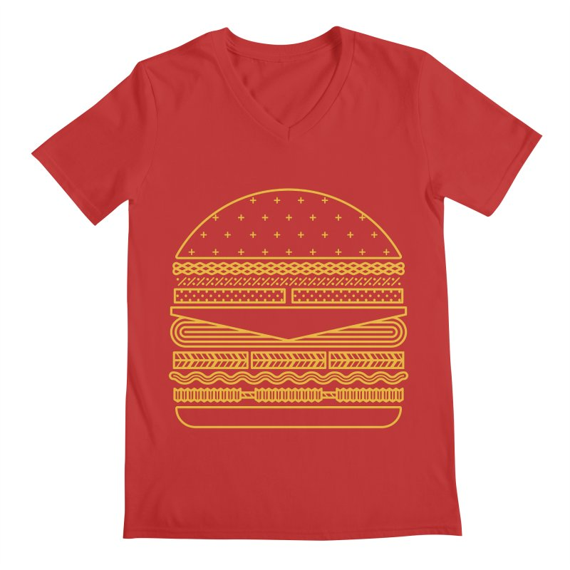 Burger Time - Yellow Men's V-Neck by Tony Bamber's Artist Shop
