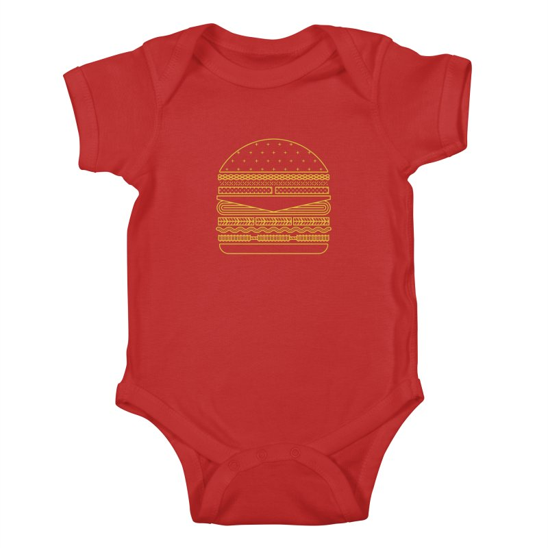 Burger Time - Yellow Kids Baby Bodysuit by Tony Bamber's Artist Shop