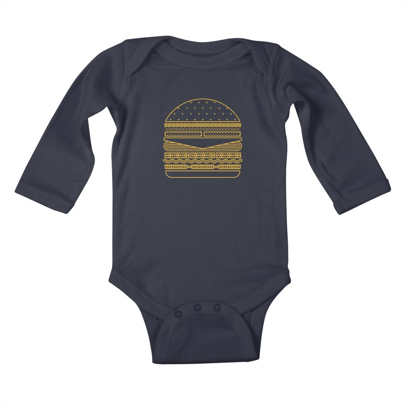 Burger Time - Yellow Kids Baby Longsleeve Bodysuit by Tony Bamber's Artist Shop