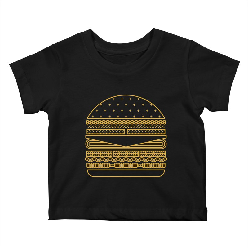 Burger Time - Yellow Kids Baby T-Shirt by Tony Bamber's Artist Shop