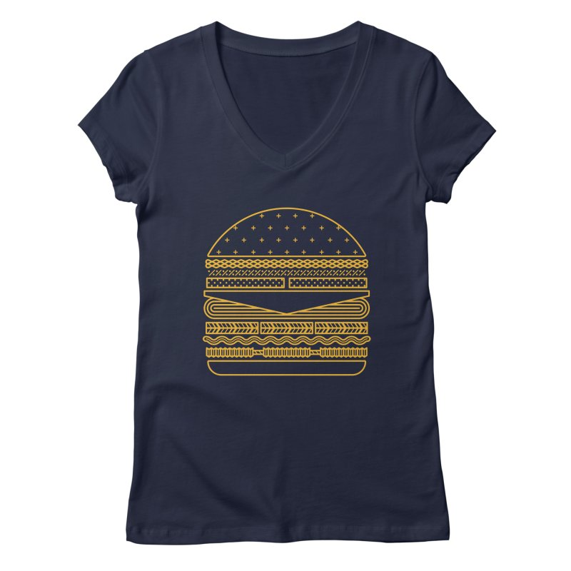 Burger Time - Yellow Women's V-Neck by Tony Bamber's Artist Shop