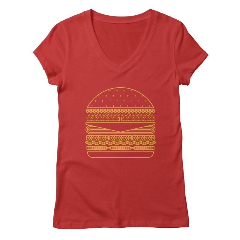 Burger Time - Yellow Women's Regular V-Neck by Tony Bamber's Artist Shop