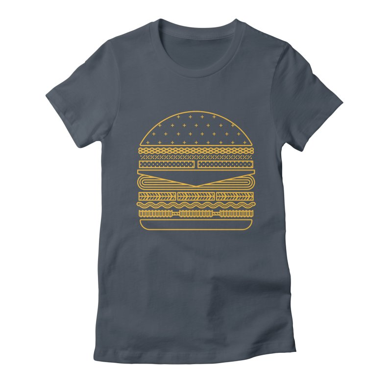 Burger Time - Yellow Women's Fitted T-Shirt by Tony Bamber's Artist Shop