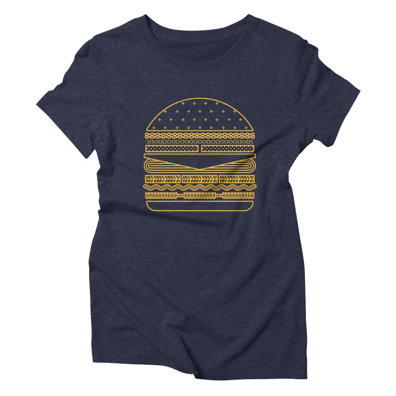 Burger Time - Yellow Women's Triblend T-shirt by Tony Bamber's Artist Shop