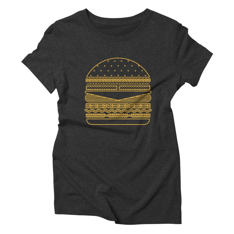 Burger Time - Yellow Women's Triblend T-shirt by Tony Bamber's Artist Shop