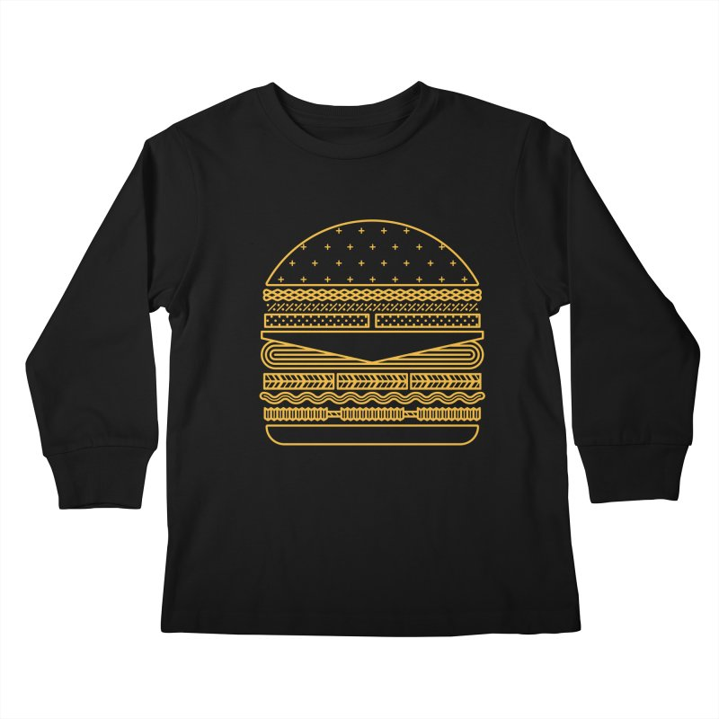 Burger Time - Yellow Kids Longsleeve T-Shirt by Tony Bamber's Artist Shop
