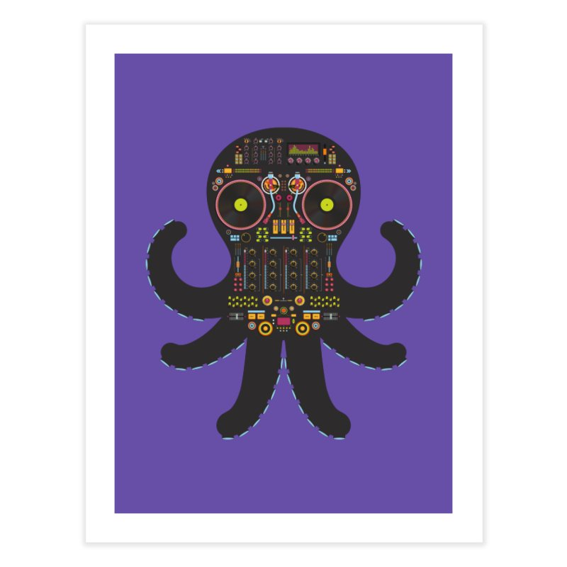DJ Octopus Home Fine Art Print by Tony Bamber's Shop