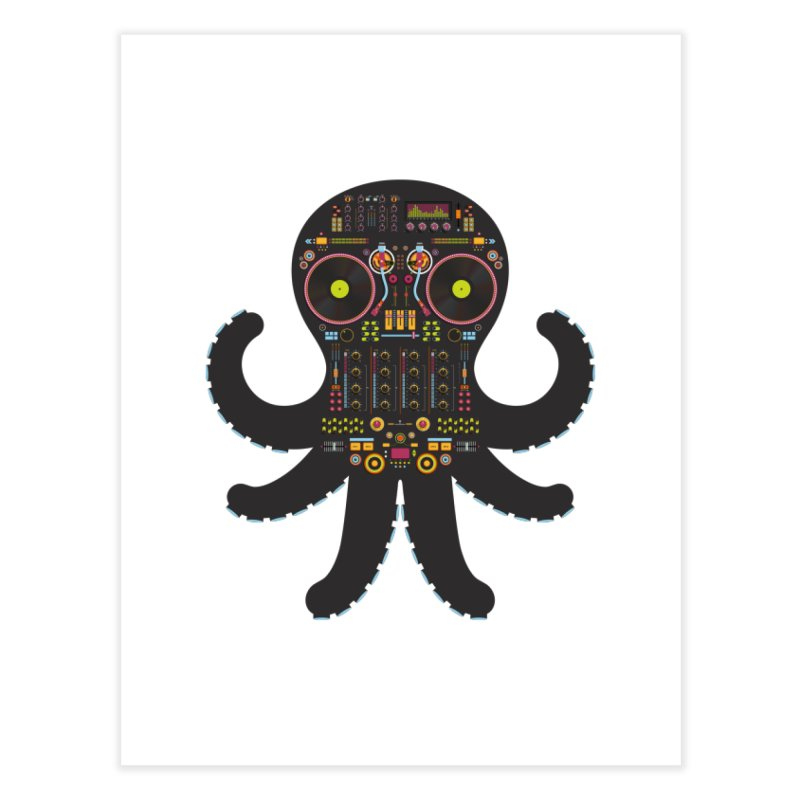 DJ Octopus Home Fine Art Print by Tony Bamber's Artist Shop
