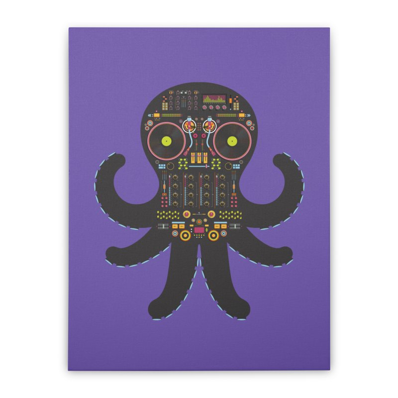 DJ Octopus Home Stretched Canvas by Tony Bamber's Shop