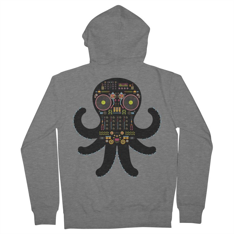 DJ Octopus Men's French Terry Zip-Up Hoody by Tony Bamber's Shop