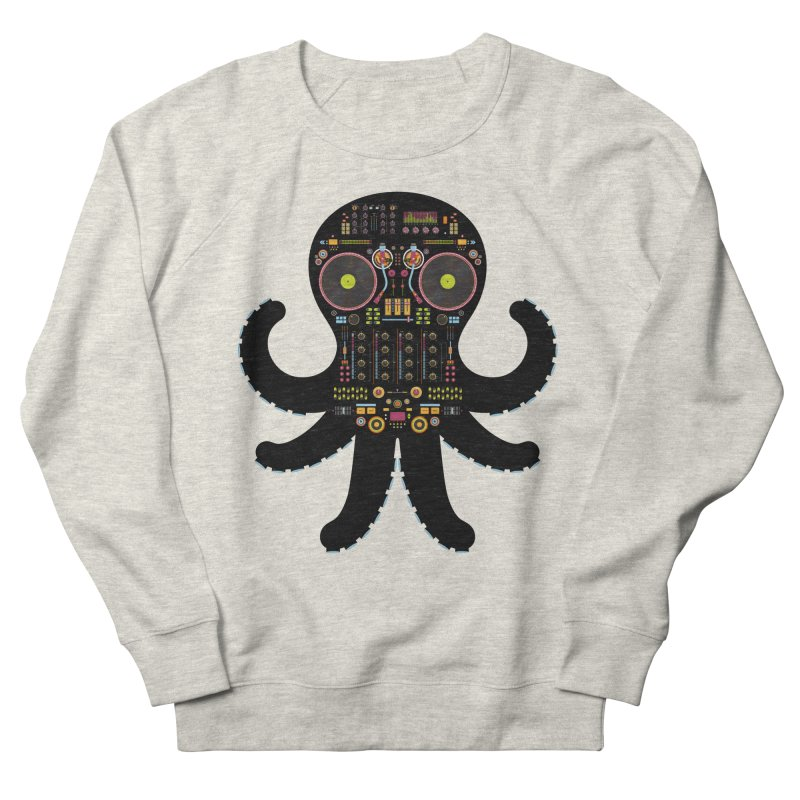 DJ Octopus Men's French Terry Sweatshirt by Tony Bamber's Artist Shop