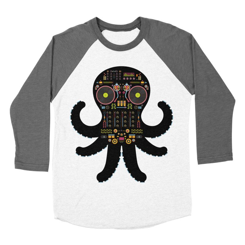 DJ Octopus Men's Baseball Triblend T-Shirt by Tony Bamber's Artist Shop