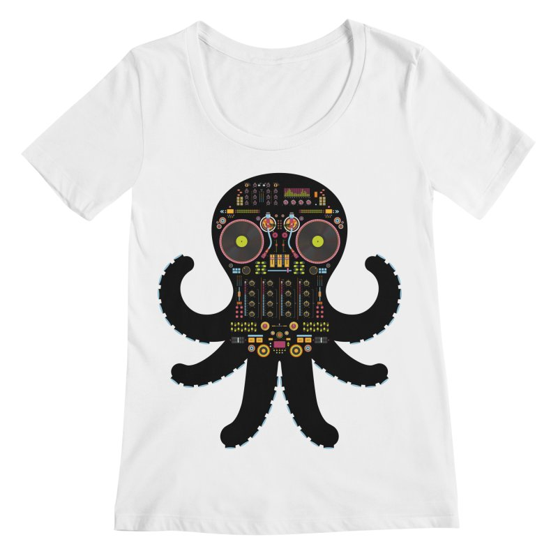 DJ Octopus Women's Regular Scoop Neck by Tony Bamber's Artist Shop