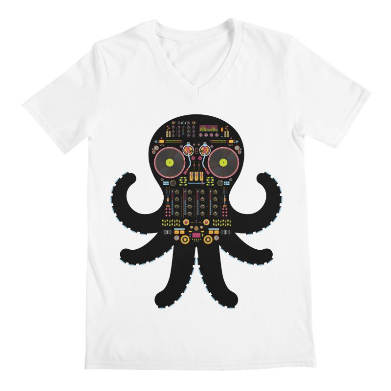 DJ Octopus Men's Regular V-Neck by Tony Bamber's Artist Shop