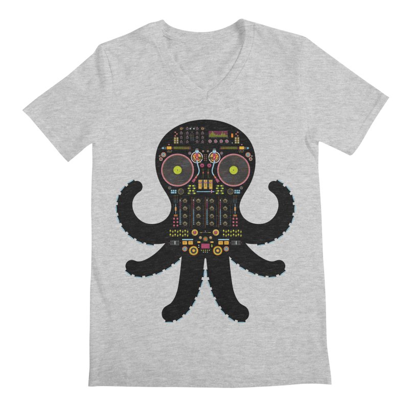 DJ Octopus Men's V-Neck by Tony Bamber's Artist Shop