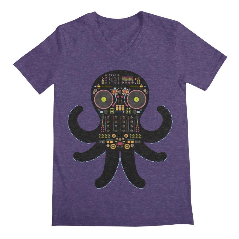 DJ Octopus Men's Regular V-Neck by Tony Bamber's Artist Shop