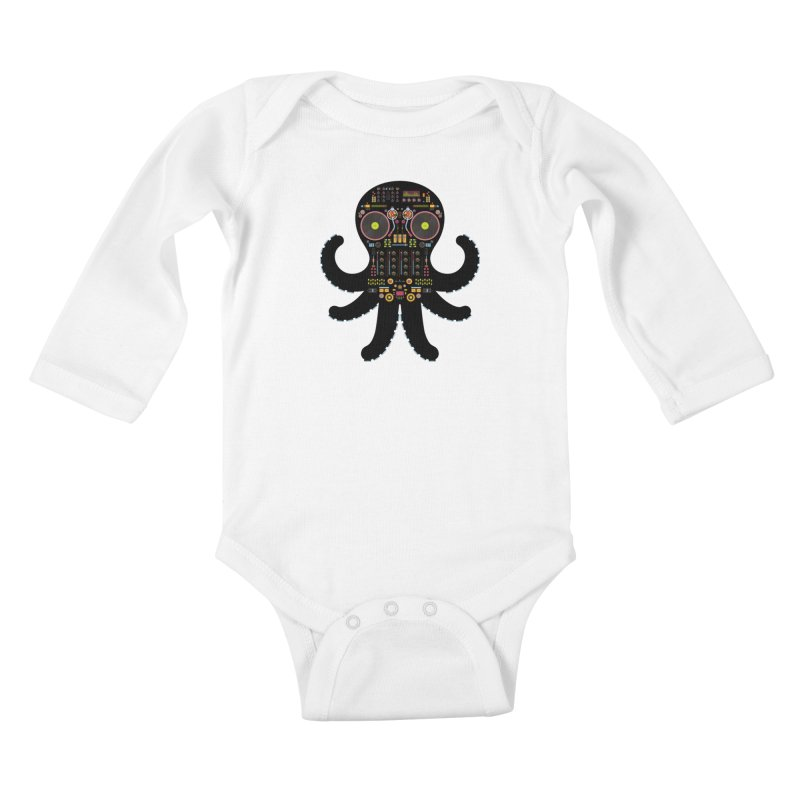 DJ Octopus Kids Baby Longsleeve Bodysuit by Tony Bamber's Artist Shop