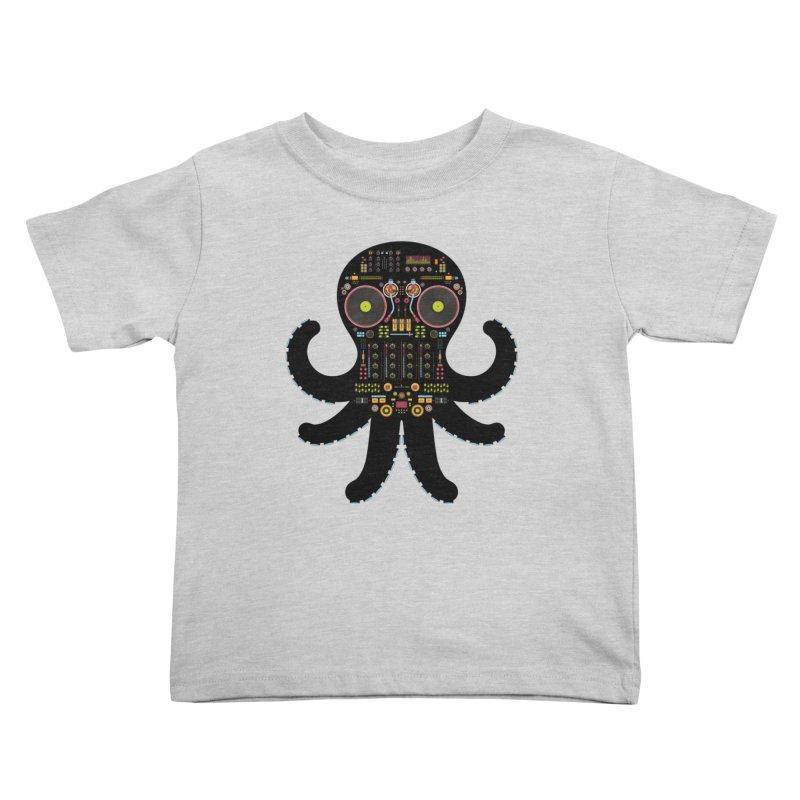 DJ Octopus Kids Toddler T-Shirt by Tony Bamber's Artist Shop