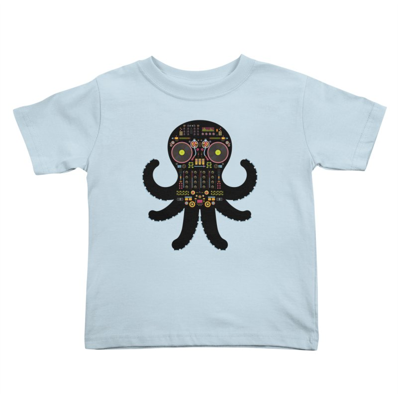 DJ Octopus Kids Toddler T-Shirt by Tony Bamber's Artist Shop