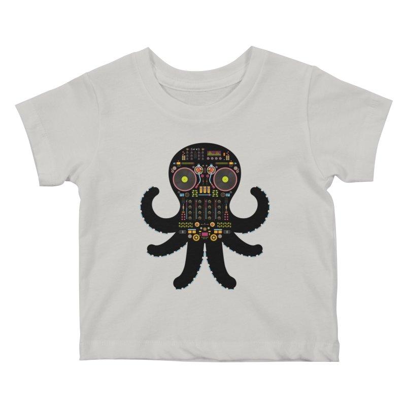 DJ Octopus Kids Baby T-Shirt by Tony Bamber's Artist Shop