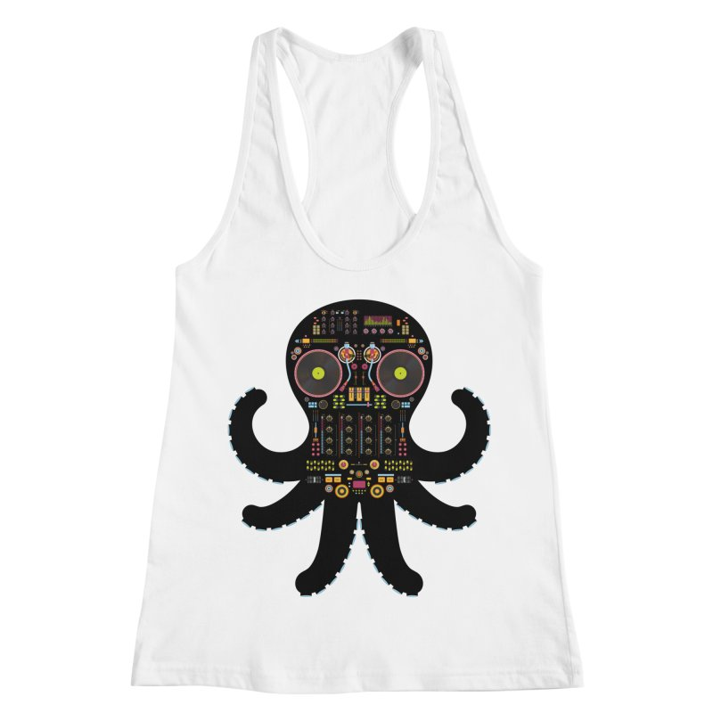 DJ Octopus Women's Racerback Tank by Tony Bamber's Shop