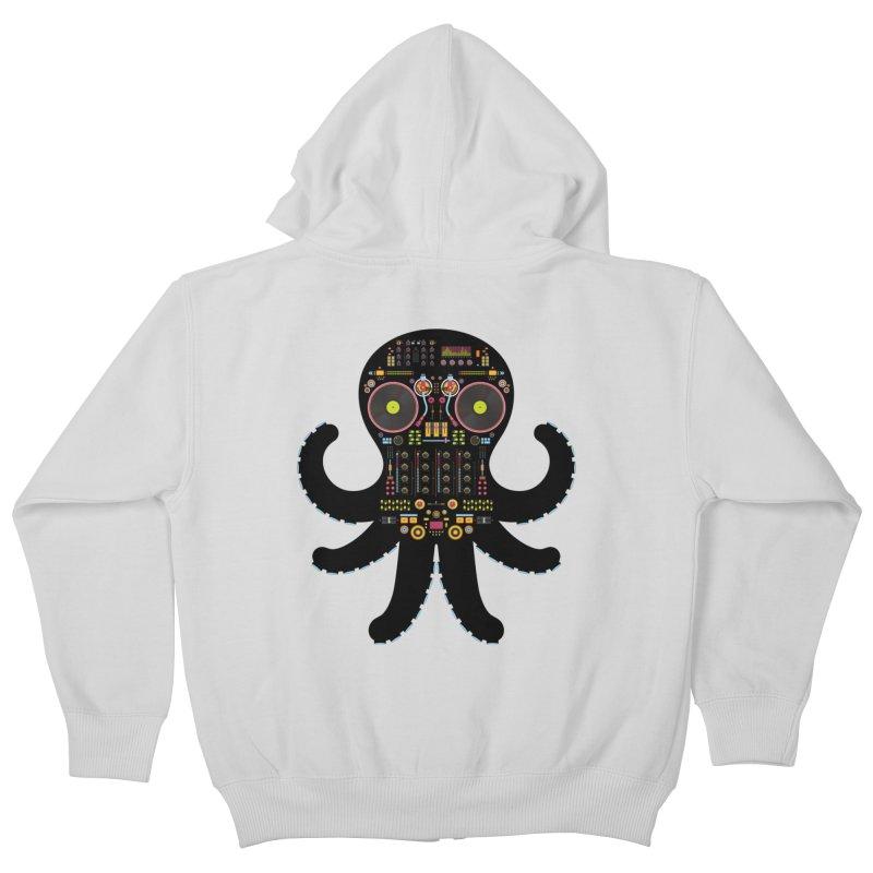 DJ Octopus Kids Zip-Up Hoody by Tony Bamber's Artist Shop