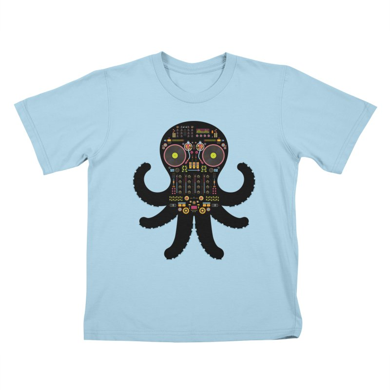 DJ Octopus Kids T-Shirt by Tony Bamber's Artist Shop