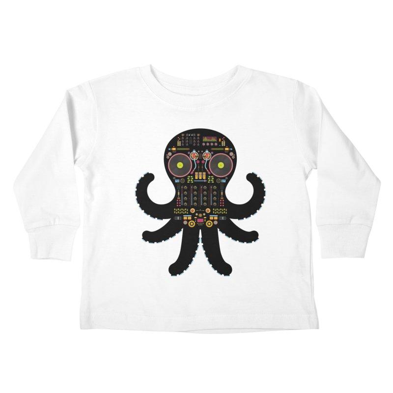 DJ Octopus Kids Toddler Longsleeve T-Shirt by Tony Bamber's Artist Shop