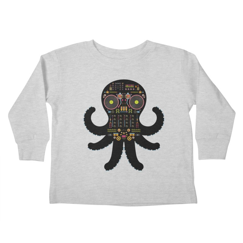 DJ Octopus Kids Toddler Longsleeve T-Shirt by Tony Bamber's Artist Shop