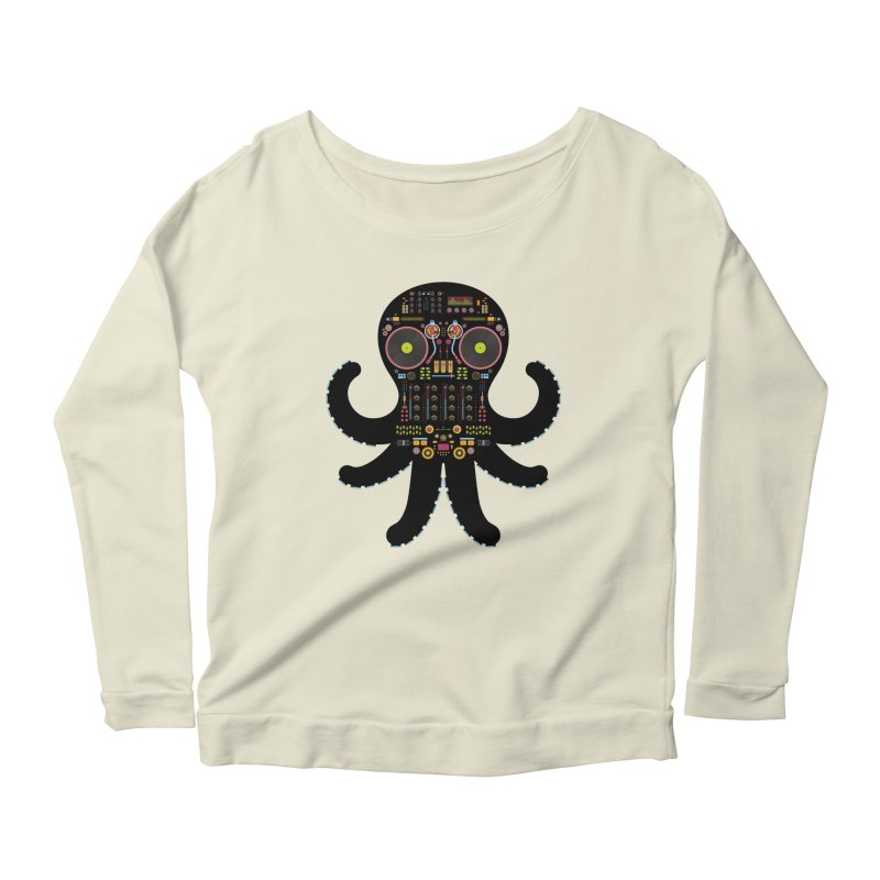 DJ Octopus Women's Scoop Neck Longsleeve T-Shirt by Tony Bamber's Artist Shop
