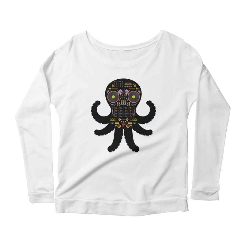 DJ Octopus Women's Scoop Neck Longsleeve T-Shirt by Tony Bamber's Shop