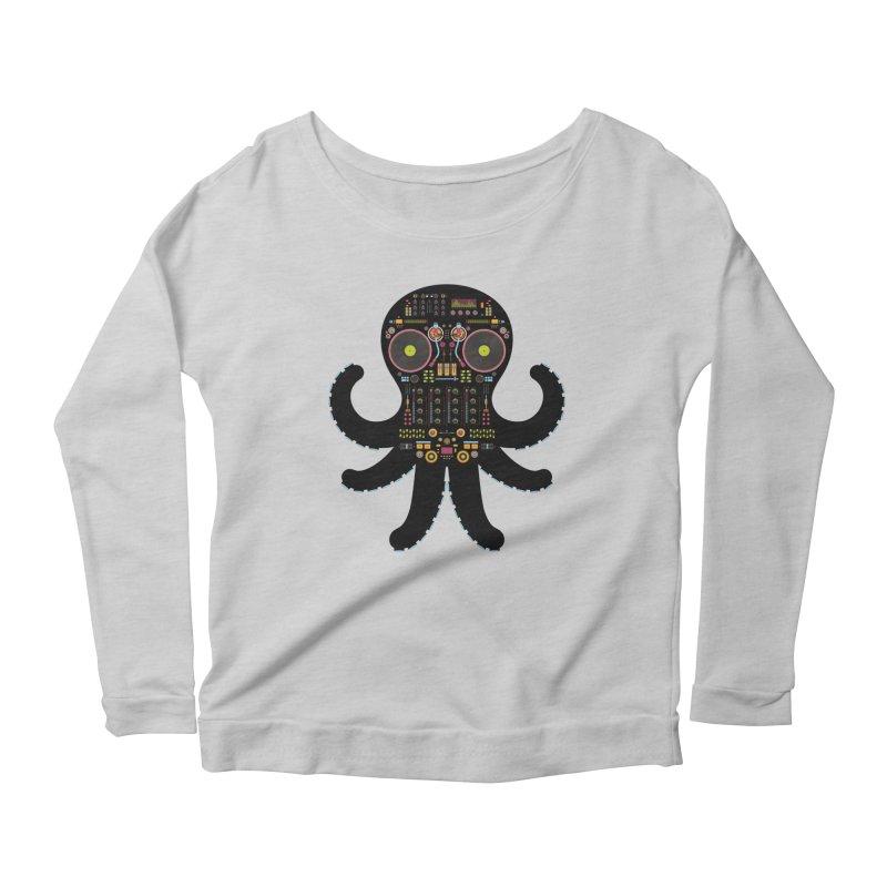 DJ Octopus Women's Scoop Neck Longsleeve T-Shirt by Tony Bamber's Shop