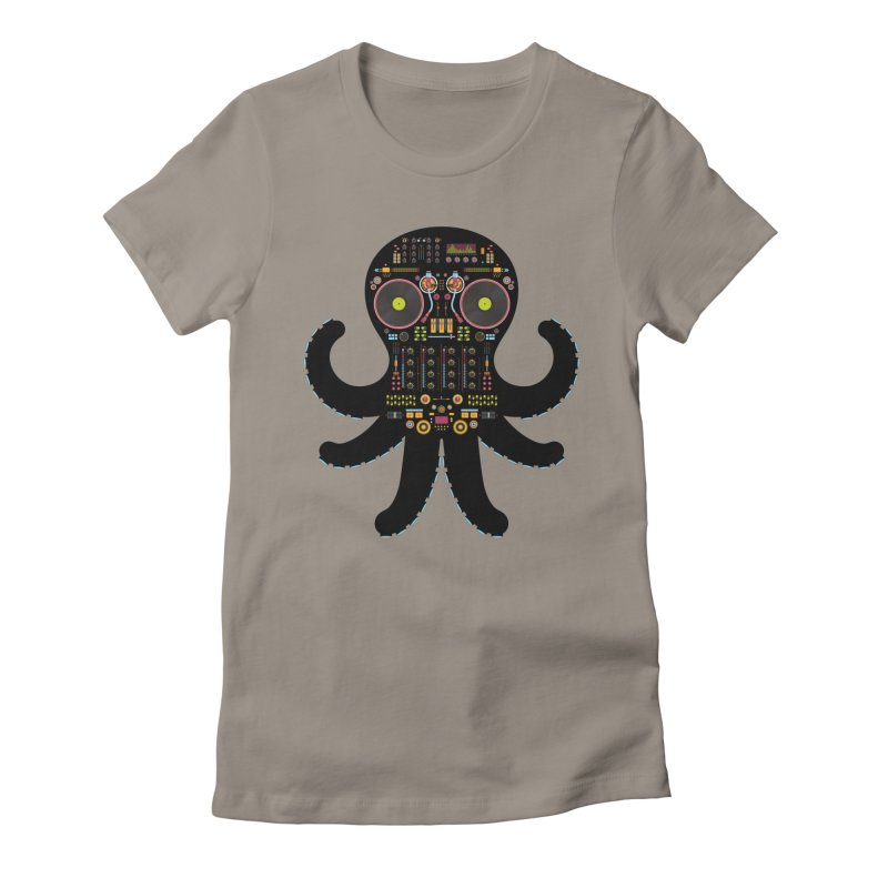DJ Octopus Women's Fitted T-Shirt by Tony Bamber's Artist Shop