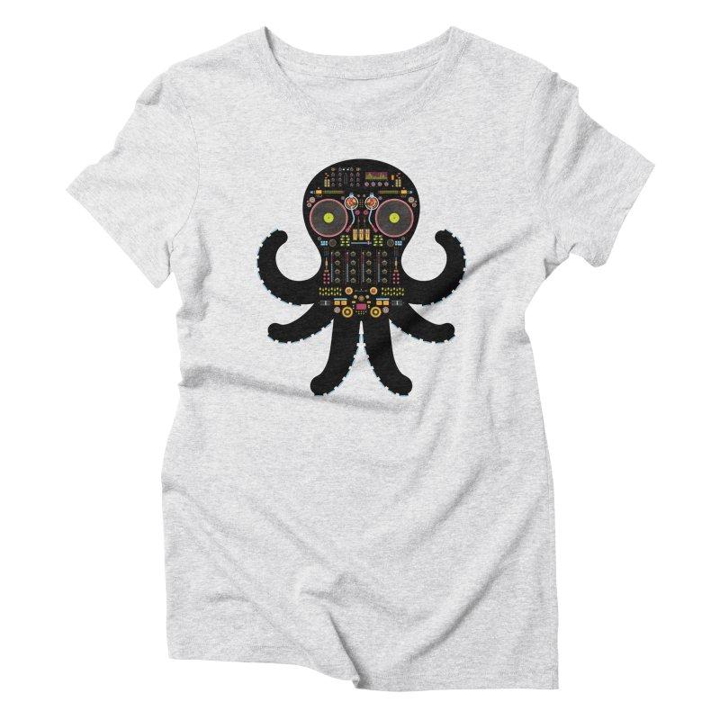 DJ Octopus Women's Triblend T-shirt by Tony Bamber's Artist Shop